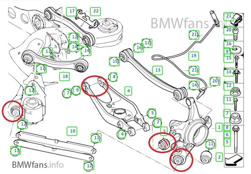 Bumpsteer, Camber and Rollcentre Correction Kit Race e8x e9x Rear Axle